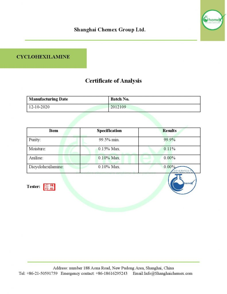 COA OF Cyclohexilamine