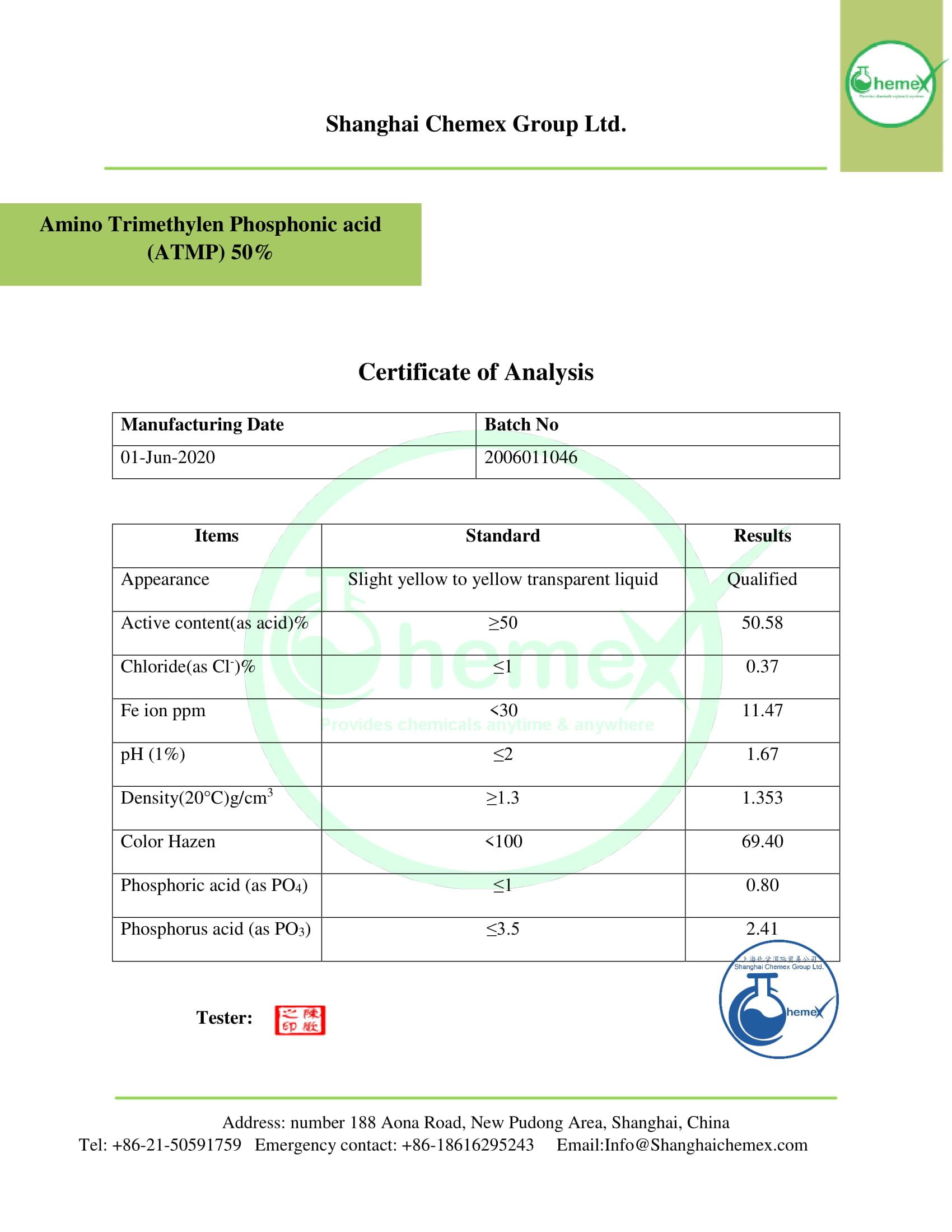 COA of ATMP 50%.CHEMEX-1
