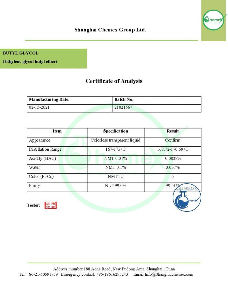 COA of Butyl glycol