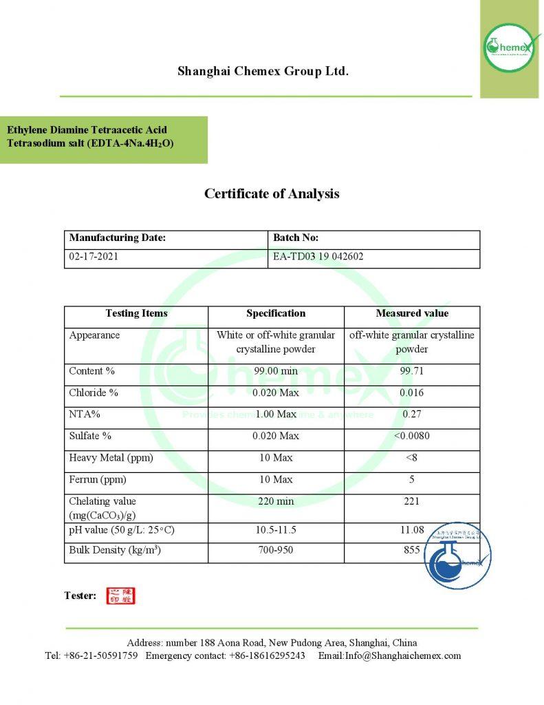 analysis of Edta-4Na