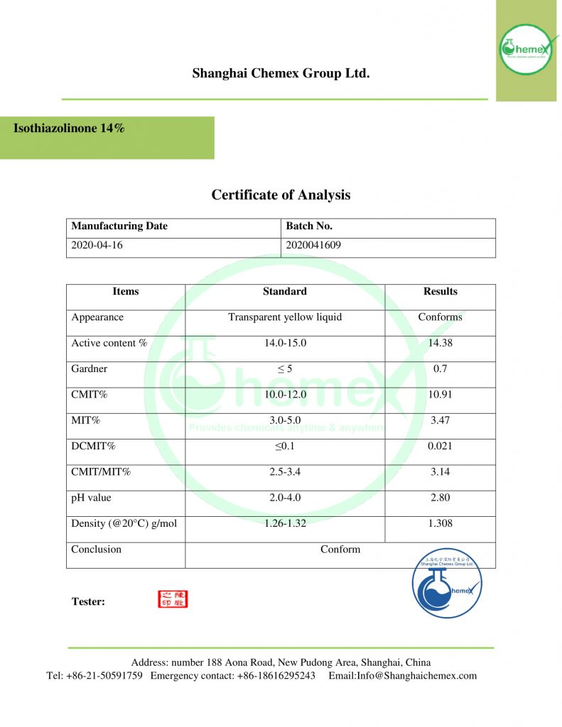 COA of Isothiazolinones 14%.chemex-1