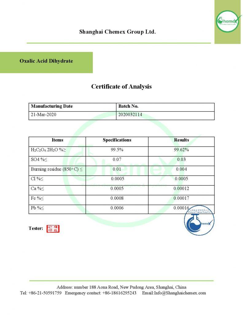 COA of Oxalic acid