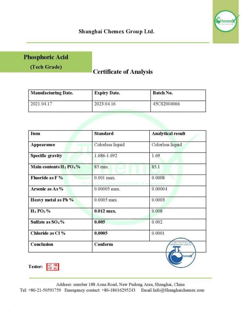 Analysis Of Phosphoric acid