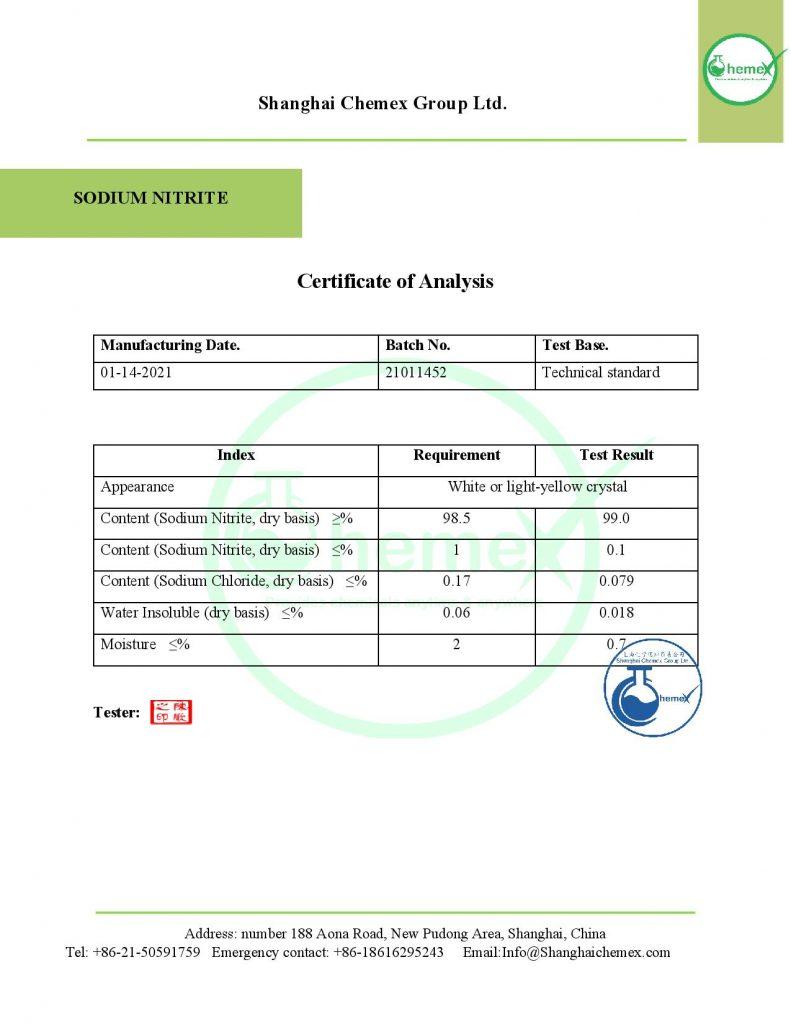 COA of Sodium Nitrite