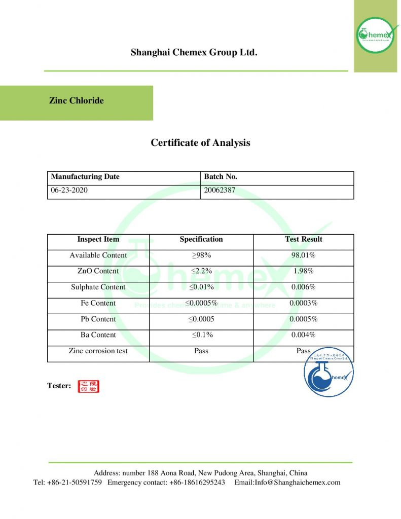 COA of Zinc chloride
