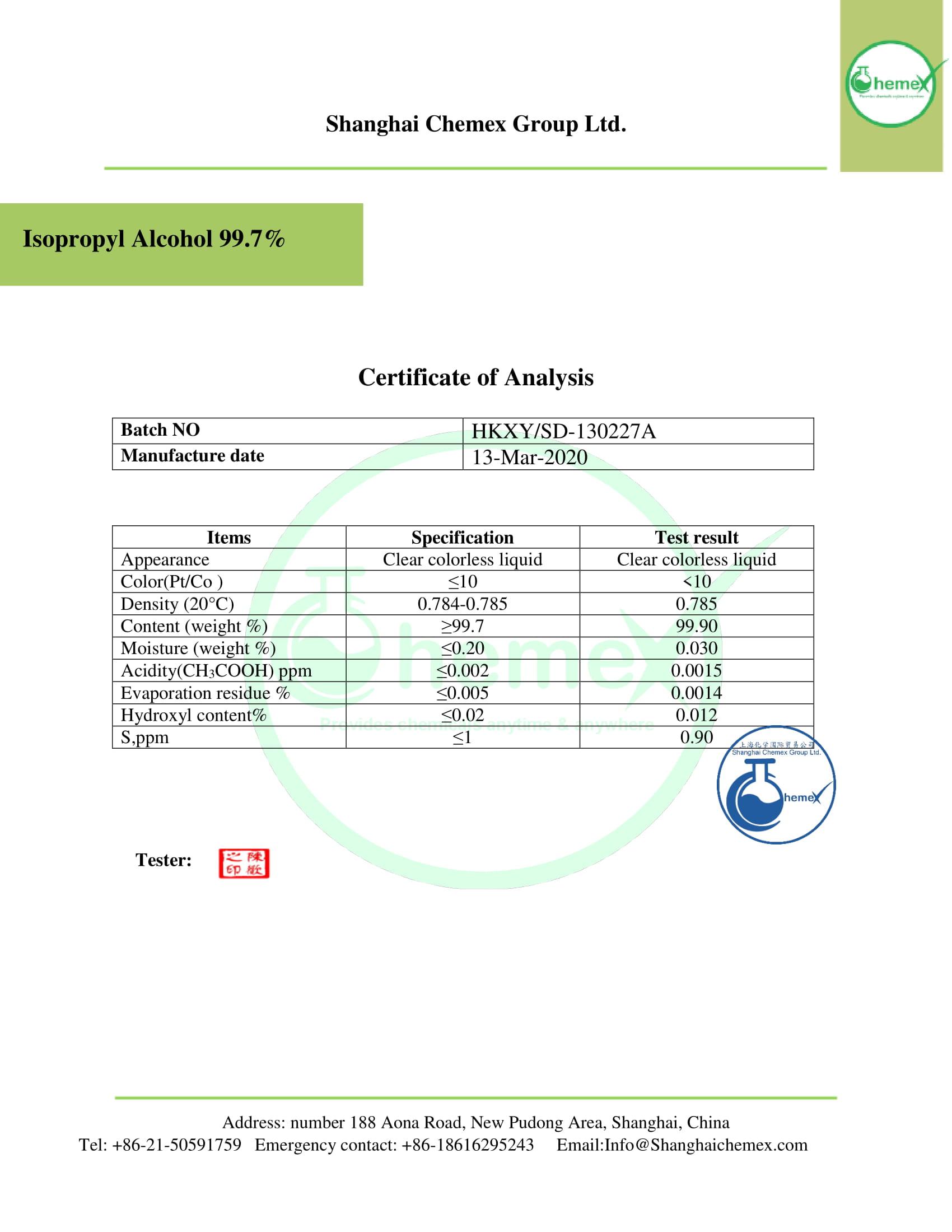 COA of isopropyl alcohol 99.7%. CHEMEX-1