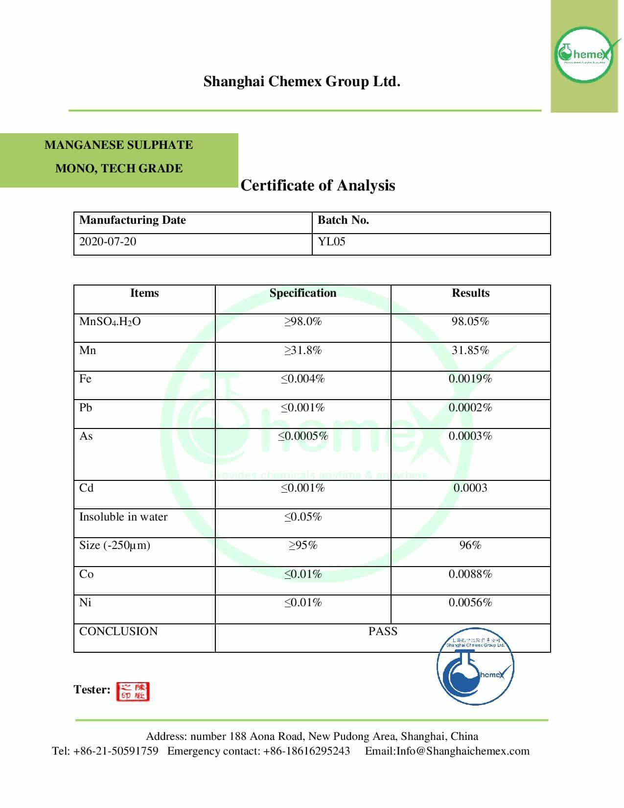 COA of manganese sulfate