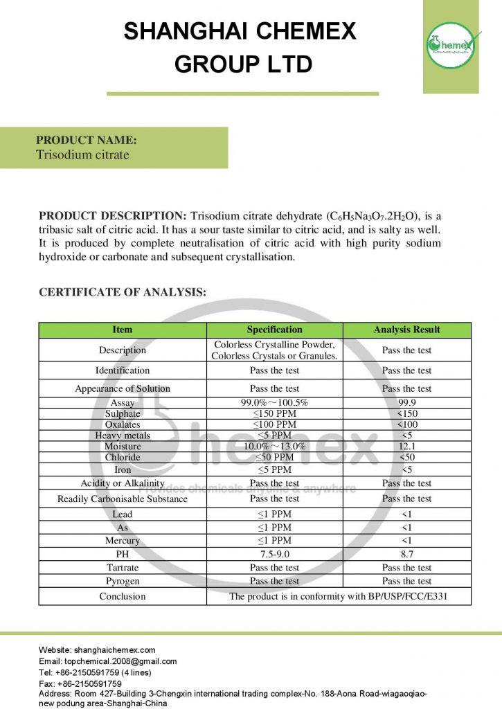 analysis of Trisodium citrate
