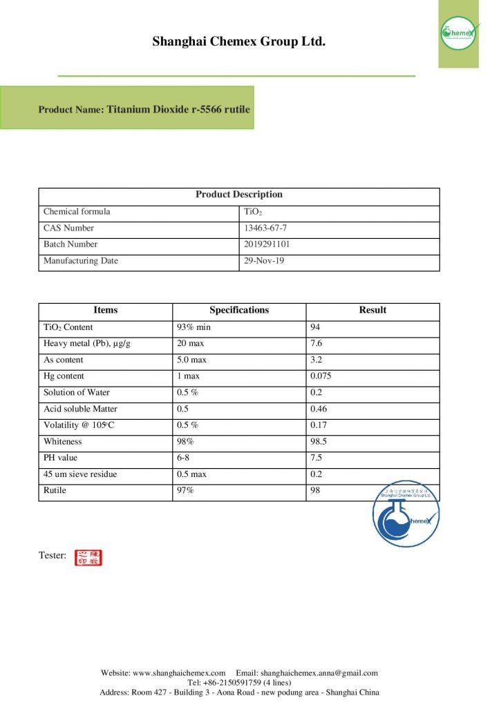 analysis of titanium dioxide
