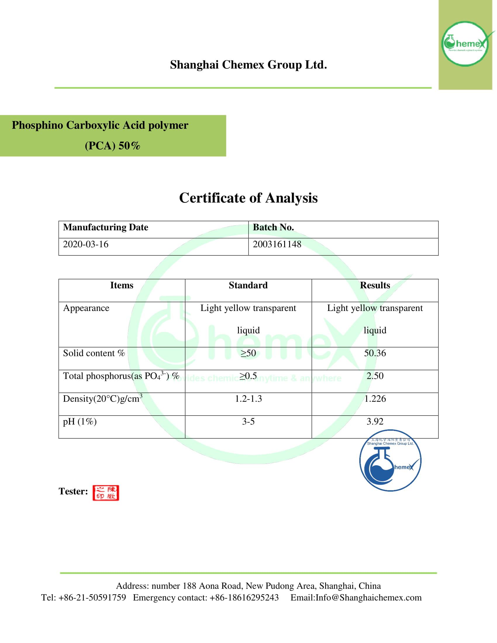 COA of (PCA) 50%.chemex-1