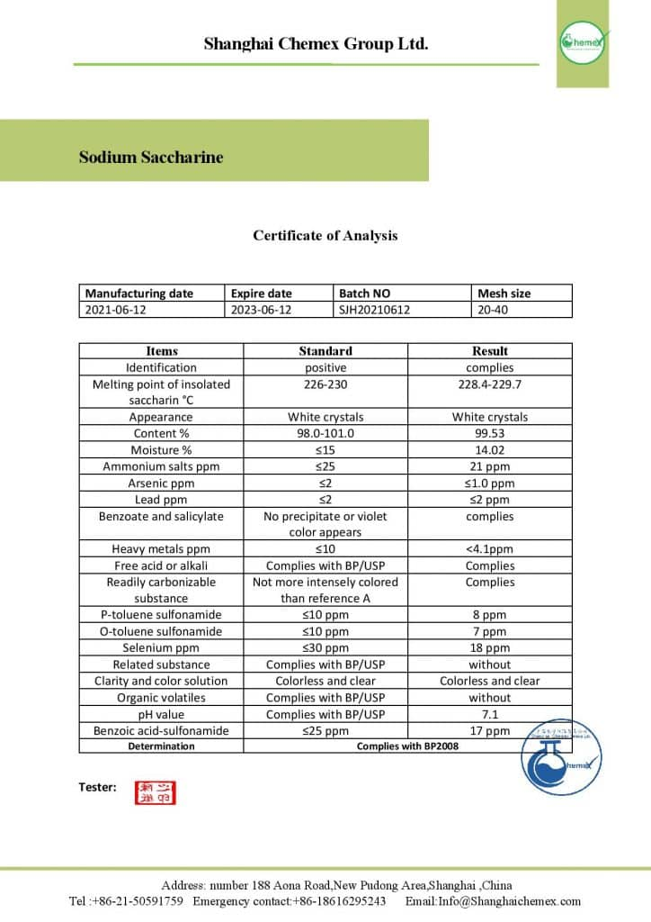 analysis of sodium saccharin