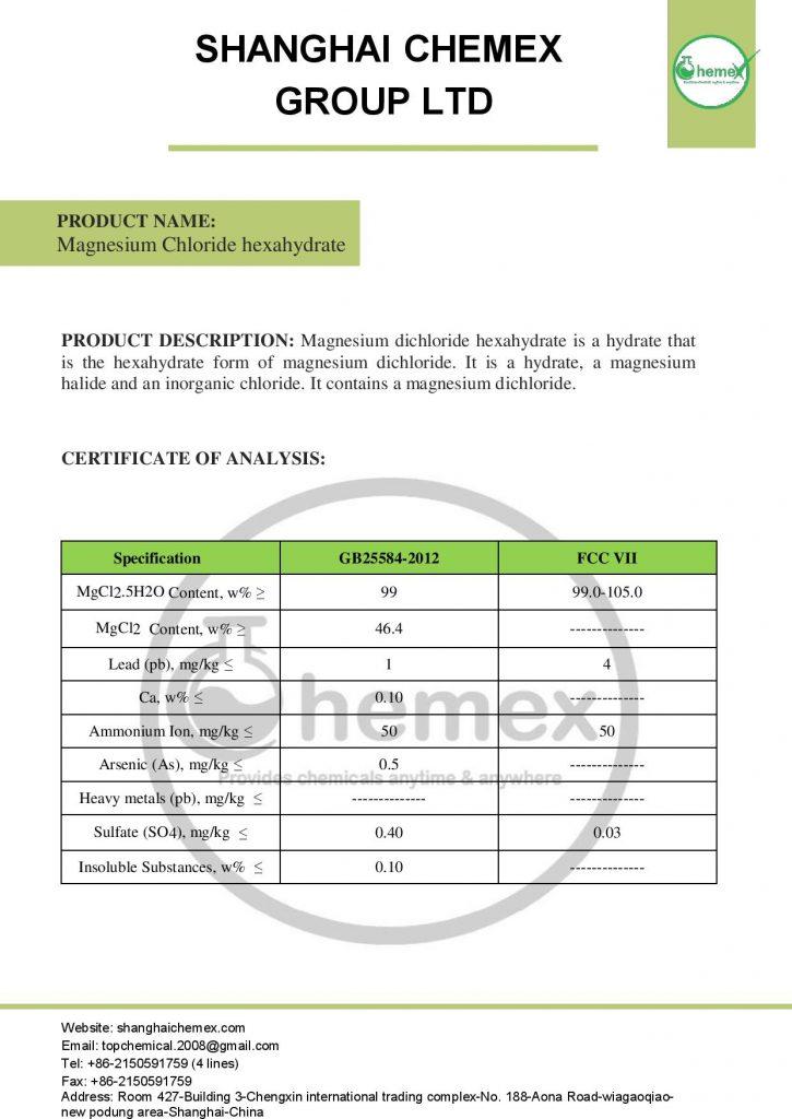 analysis of Magnesium Chloride hexahydrate