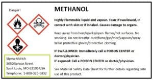 methanol saftey