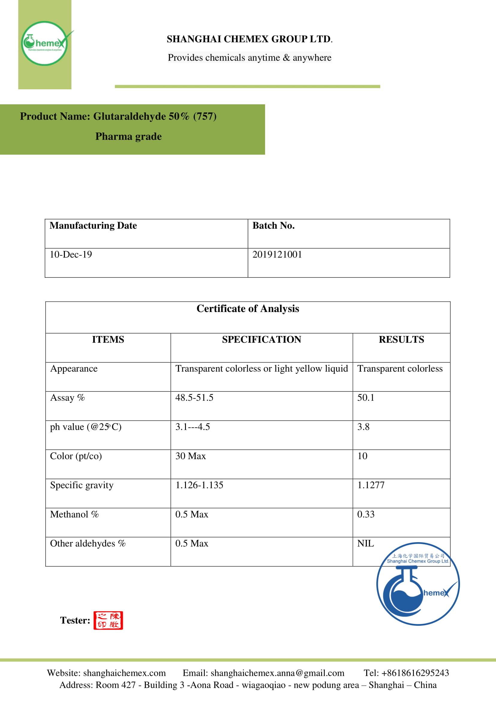 Pharma grade Glutaraldehyde COA