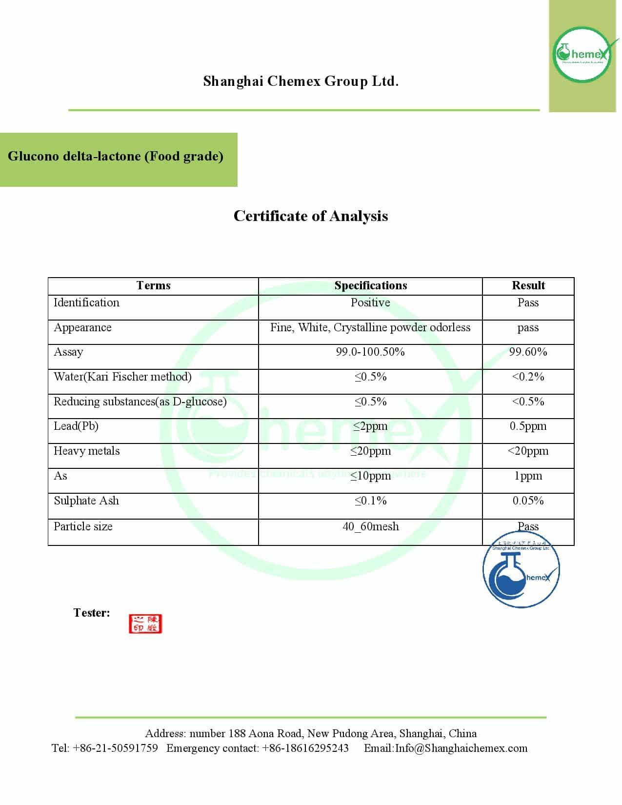 COA of Glucono delta-lactone (Food grade). chemex-page-001