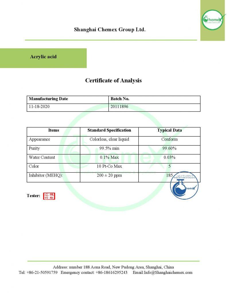 analysis of acrylic acid