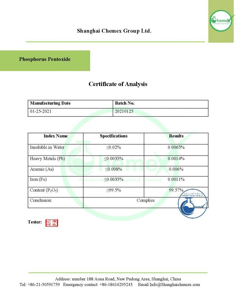 analysis of Phosphorus pentoxide