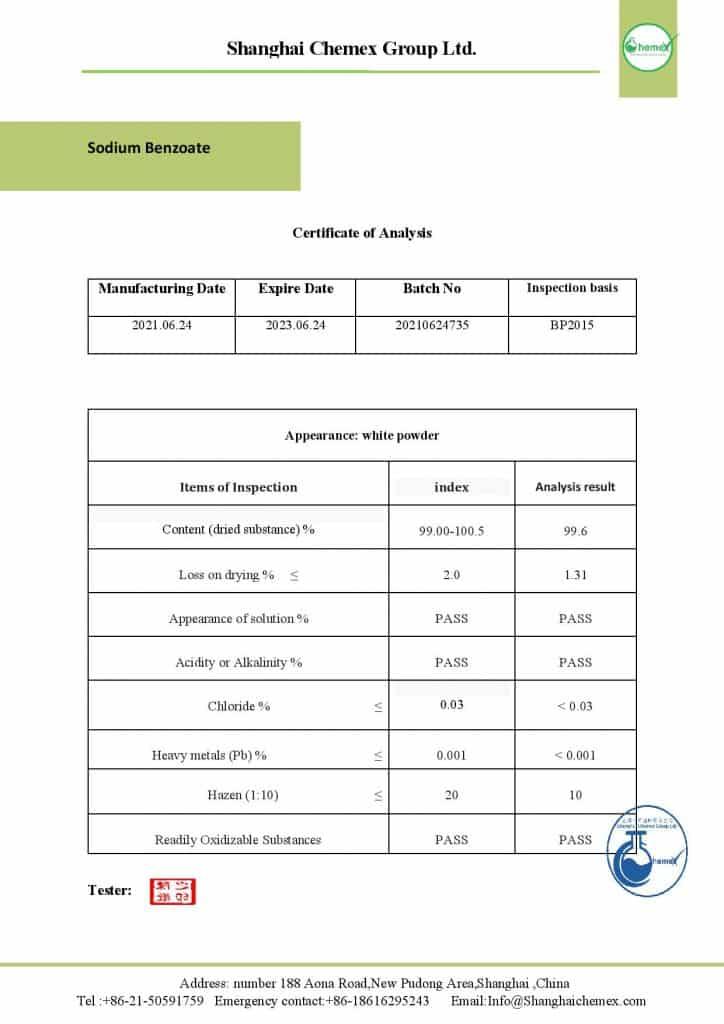 analysis of Sodium Benzoate