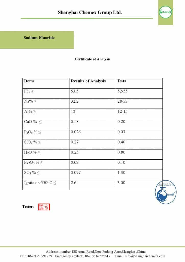 analysis of Sodium Flouride