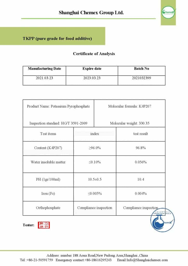 Analysis of Tetra potassium pyrophosphate (TKPP)