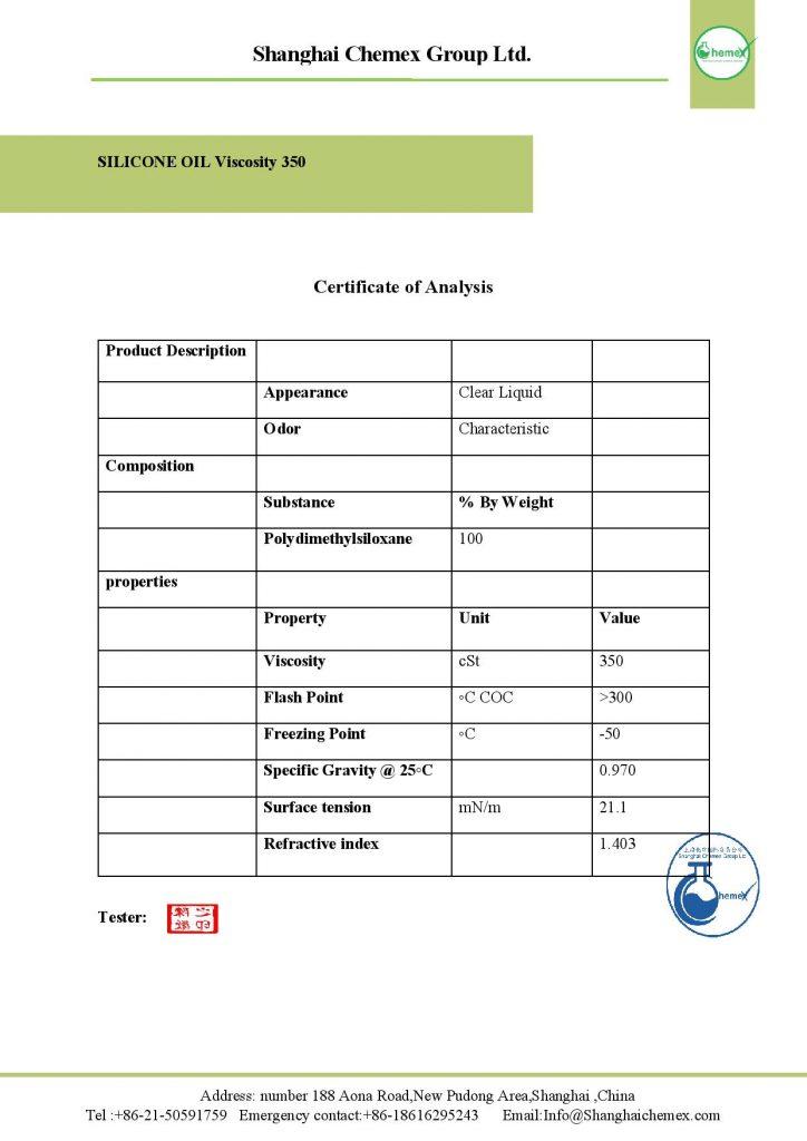 ANALYSIS OF GRADE 350 SILICONE OIL (POLYDIMETHYLSILOXANE)