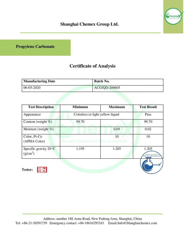 Analysis of propylene carbonate